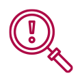 Magnifying glass risk icon
