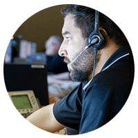 Technical assistant on headset offering support