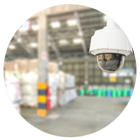 Surveillance camera in warehouse.