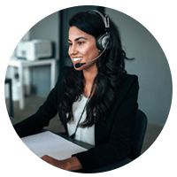 Remote help desk representative on headset