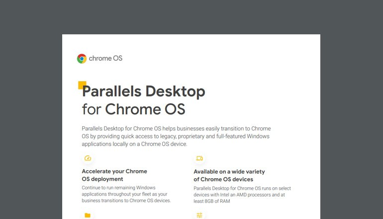 Cover image of the Parallels Desktop for Chromebook Enterprise Datasheet that is available to download below.