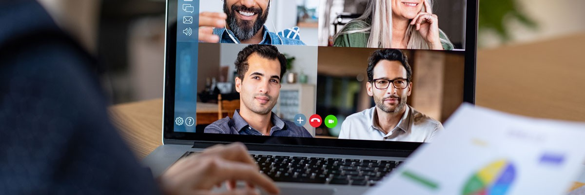 Close up of a video conference on a laptop - remote work, telecommuting