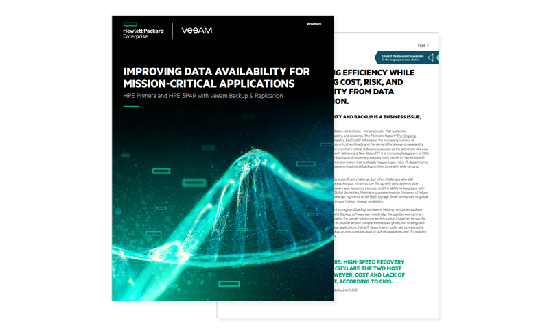cover of HPE Improving Data Availability for Mission-Critical Applications report available to download by registering today.
