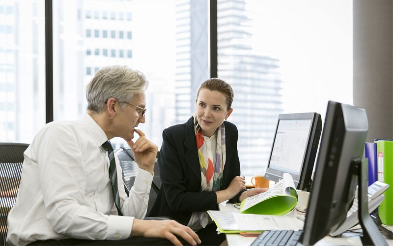 two business employees discussing at desk