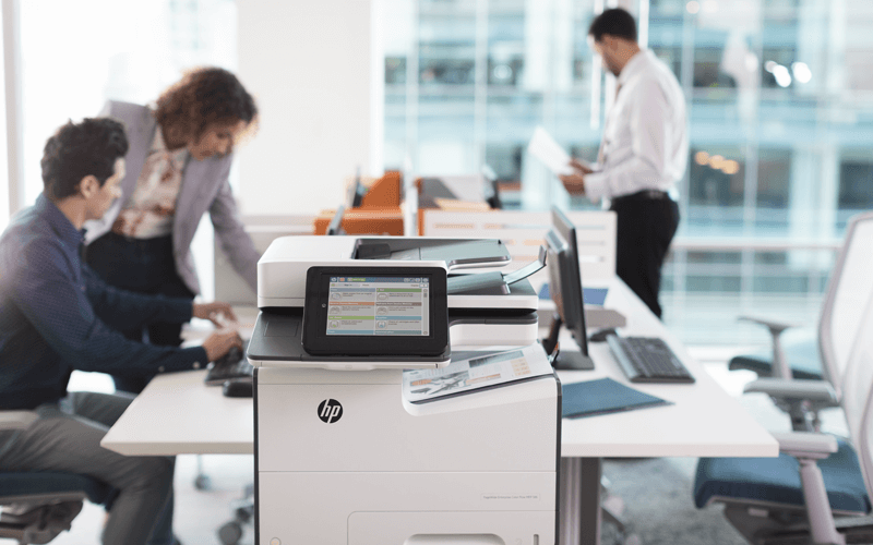 Open office with HP print device