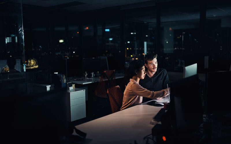 Users working at night